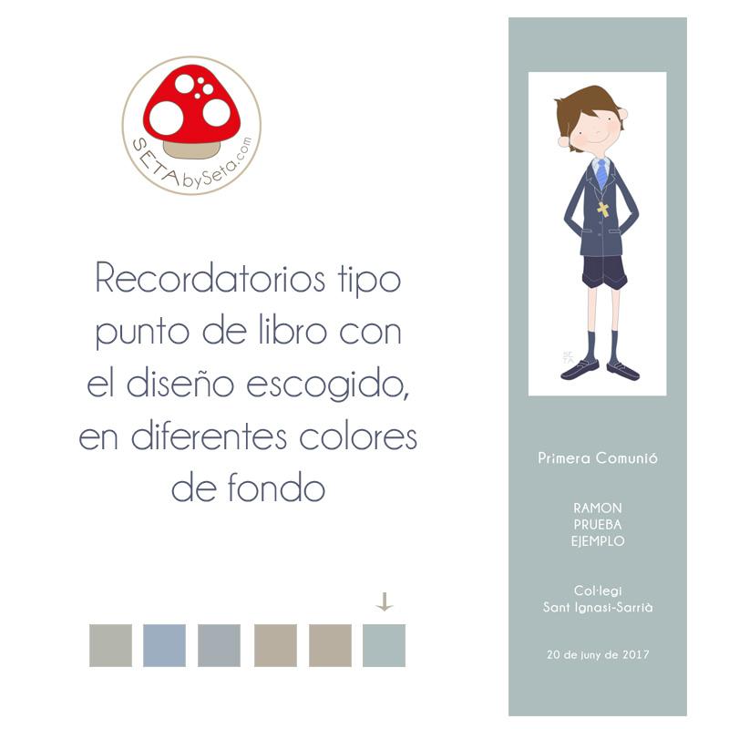 Punto de libro comunión niño a color con cuadro blanco