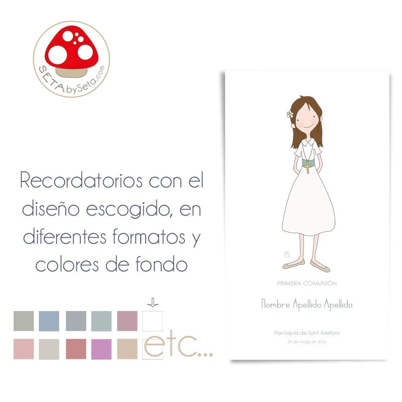 ecordatorios comunión tarjeta con ilustración escogida blanco