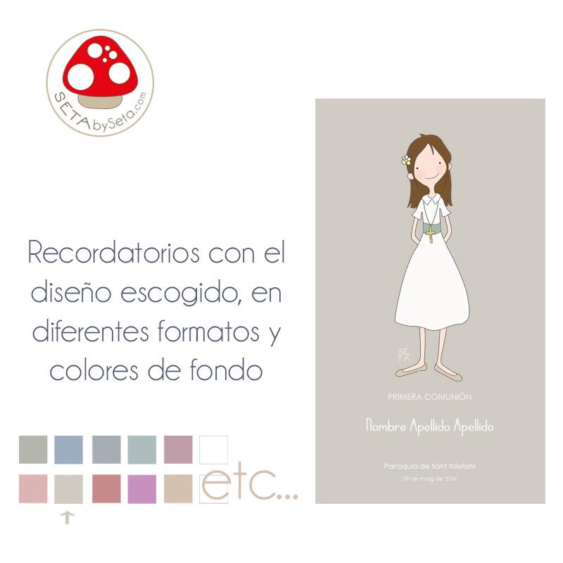 Recordatorios comunión tarjeta con ilustración escogida gris claro