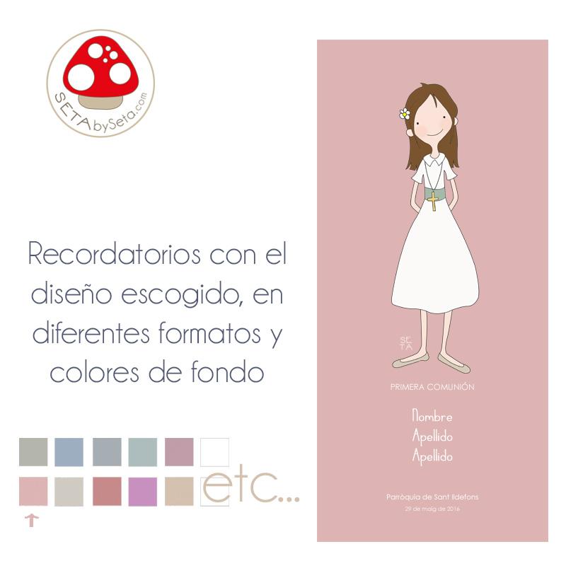Recordatorios comunión con ilustración escogida rosa