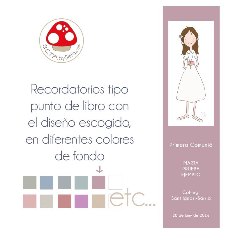 Punto de libro comunión niña color lila SetabySETA