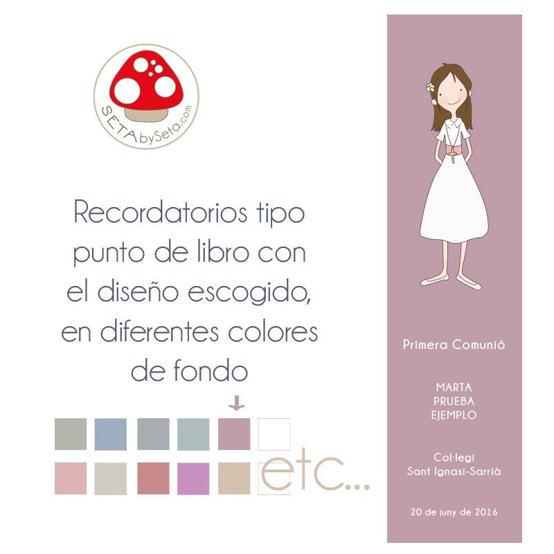 Punto de libro comunión niña color sin cuadro bl lila